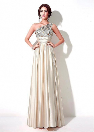 Romantic Stretch Satin One Shoulder Neckline A-line Prom Dresses