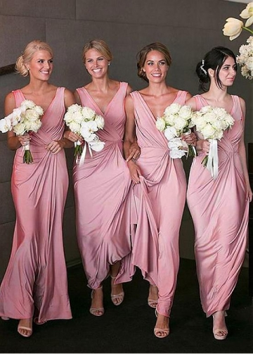 Attractive Jersey V-neck Neckline Full-length Sheath/Column Bridesmaid Dress