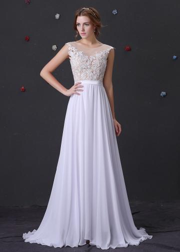Romantic white Chiffon Bateau Neckline A-Line Prom Dresses