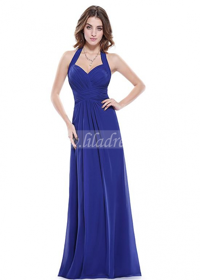 Sexy Chiffon Halter Neckline Backless A-line Prom / Bridesmaid Dresses With Pleats
