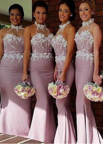 Glamorous Fitted Satin Halter Neckline Mermaid Bridesmaid / Prom Dress