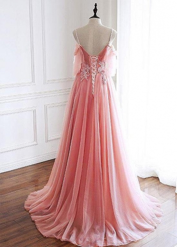 Classic Tulle Spaghetti Straps Neckline Floor-length A-line Prom Dresses With Lace Appliques & Beaded 3D Flowers & Beadings