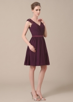 Sweet Chiffon V-neck Neckline Short A-line Bridesmaid Dresses