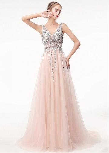 Brilliant Tulle V-neck Neckline Floor-length A-line Prom Dress With Beadings