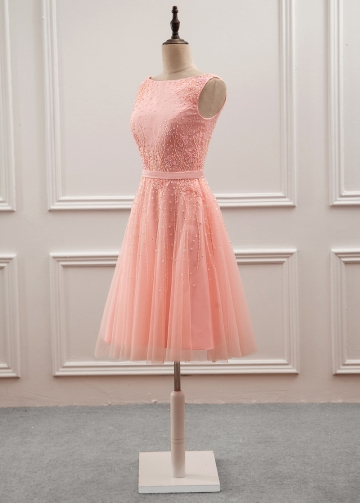 Graceful Tulle & Satin Bateau Neckline A-Line Knee-length Homecoming Dress With Sequins & Beadings