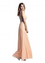 Pretty Chiffon Spaghetti Straps Neckline Floor-length Sheath/Column Prom Dresses With Beadings