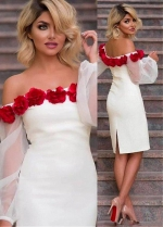 Romantic Satin Off-the-shoulder Neckline Puff Sleeves Sheath / Column Homecoming Dress With Handmade Flowers