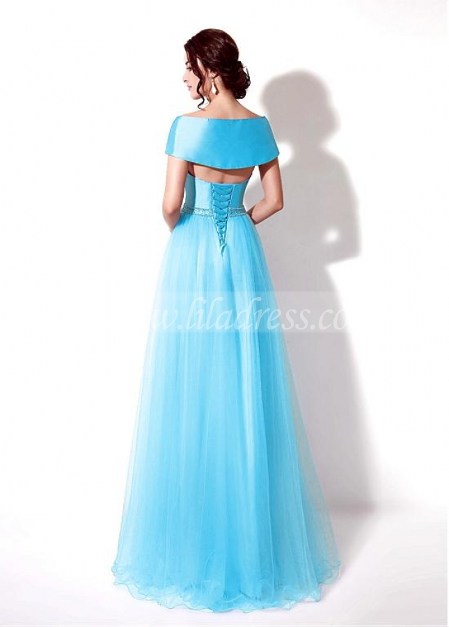 Elegent Taffeta Square Neckline Floor-length Prom Dresses