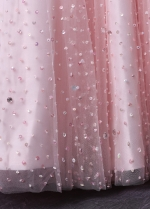 Allruing Tulle & Satin Sweetheart Neckline A-Line Sparkly Prom Dresses