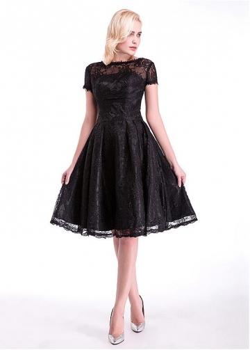 Elegant Lace Bateau Neckline A-Line Cocktail Dresses