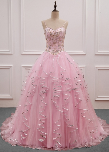 Stunning Tulle Spaghetti Straps Neckline Ball Gown Quinceanera Dress With Embroidery & Beadings