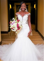 Alluring Tulle & Satin Sheer Jewel Neckline Mermaid Wedding Dress With Beaded Lace Appliques
