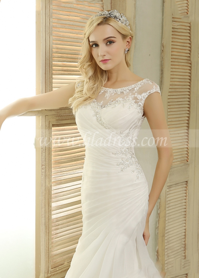 Elegant Organza Satin Bateau Neckline Mermaid Wedding Dresses