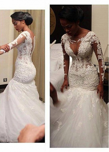 Glamorous Tulle & Satin Scoop Neckline Mermaid Wedding Dresses With Beaded Lace Appliques