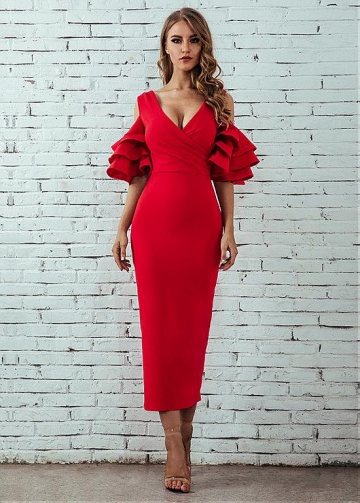 Chic Red V-neck Neckline Tea-length Sheath/Column Cocktail Dresses