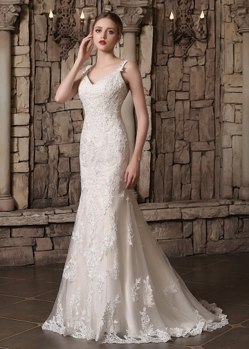Elegant Tulle Spaghetti Straps Neckline Lace Appliques Mermaid Wedding Dresses