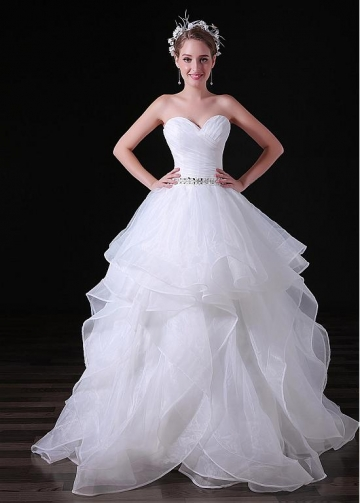 Popular Organza Sweetheart Neckline Floor-length Ball Gown Wedding Dresses With Beadings
