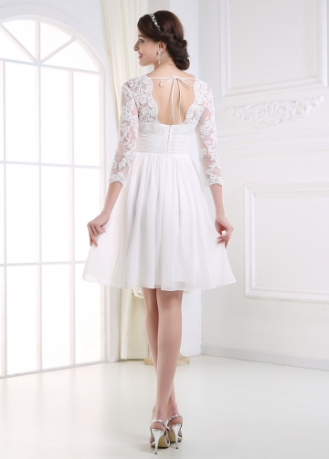 Amazing Chiffon A-line V-neck Empire Waist Short Wedding Dress