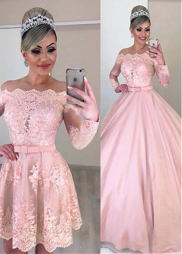 Unique Tulle Off-the-shoulder Neckline 2 In 1 Wedding Dresses With Lace Appliques & Bowknot & Detachable Skirt