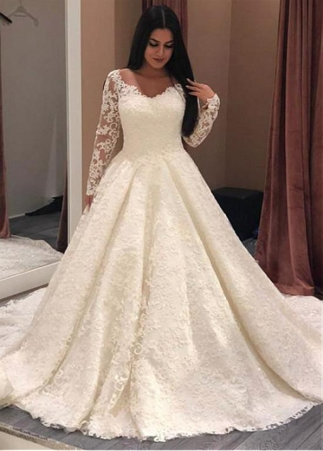 Stunning Lace Jewel Neckline A-line Wedding Dresses