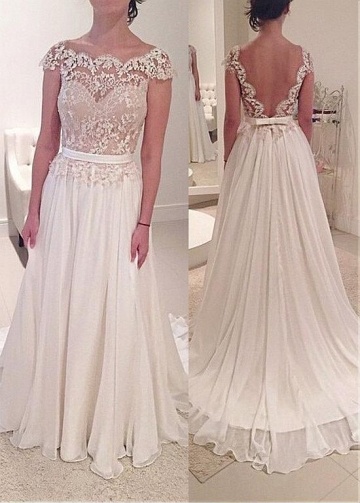 Graceful Tulle & Chiffon Scoop Neckline A-line Wedding Dress With Lace Appliques & Belt