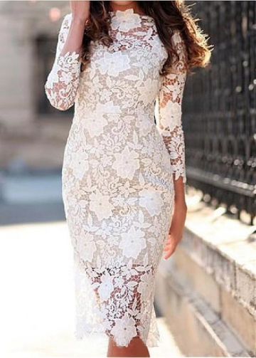 Delicate Lace Bateau Neckline Knee-length Sheath/Column Wedding Dresses