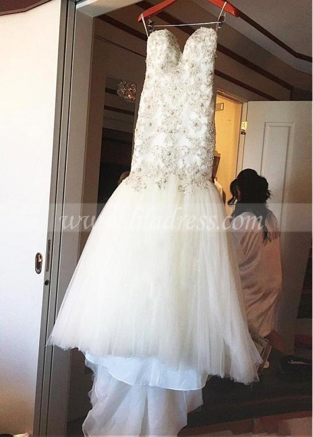 Fantastic Tulle Sweetheart Neckline Mermaid Wedding Dress