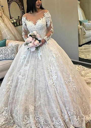 Marvelous Tulle & Lace Scoop Neckline Ball Gown Wedding Dress With Beadings & Lace Appliques