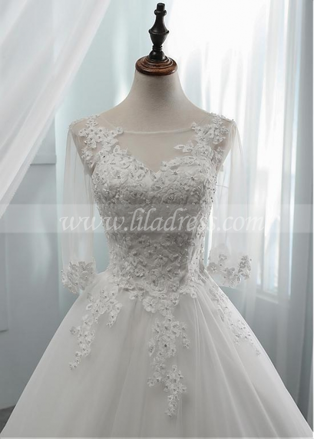 Fabulous Tulle Scoop Neckline A-line Wedding Dress With Beadings & Lace Appliques