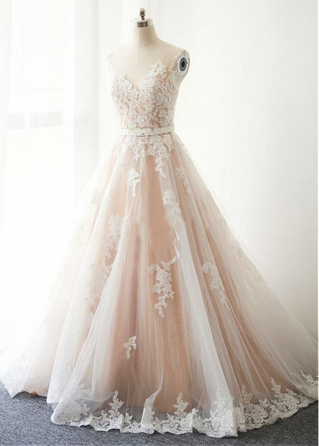 Gorgeous Tulle Sheer Jewel Neckline A-Line Wedding Dress With Beaded Lace Appliques & Belt