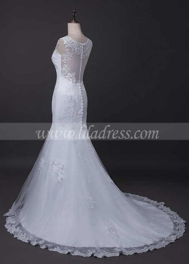Exquisite Tulle & Lace Jewel Neckline Mermaid Wedding Dress With Lace Appliques