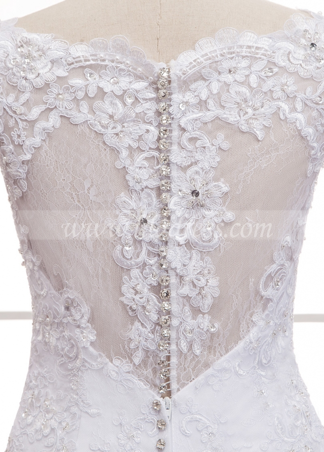 Glamorous Lace & Tulle Bateau Neckline Mermaid Wedding Dress With Lace Appliques & Beading