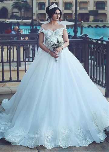 Modest Tulle & Organza Off-the-shoulder Neckline Ball Gown Wedding Dresses With Beaded Lace Appliques