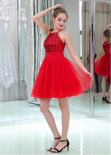 Marvelous Sequin Lace & Tulle Jewel Neckline Short Length A-line Cocktail Dresses