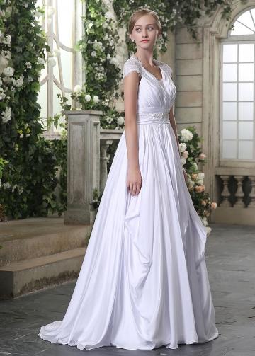 Graceful Satin Chiffon V-neck Neckline Lace Appliques A-line Wedding Dresses