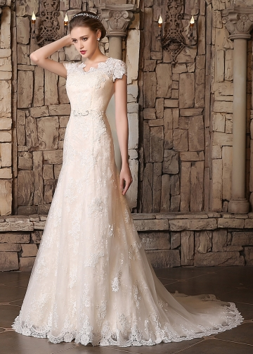 Romantic Tulle V-neck Neckline A-line Wedding Dresses With Lace Appliques