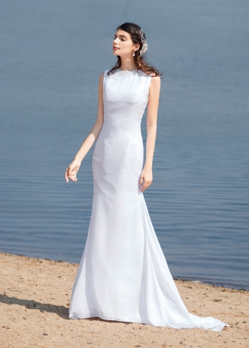 Elegant Chiffon Bateau Neckline Mermaid Wedding Dresses With Beaded Lace Appliques