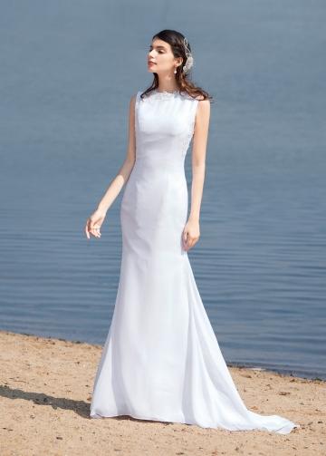 Elegant Chiffon Bateau Neckline Mermaid Wedding Dresses With Beaded Lace Appliques
