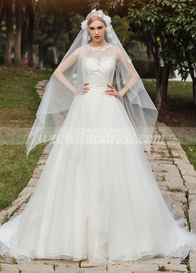 Elegant Organza & Lace Jewel Neckline A-line Wedding Dresses