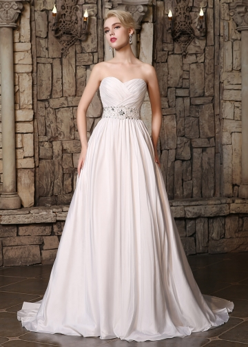 Elegant Taffeta Sweetheart Neckline A-line Wedding Dresses with Beadings & Rhinestones