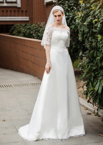 Classic Satin Off-the-shoulder Neckline A-line Wedding Dresses With Lace Appliques