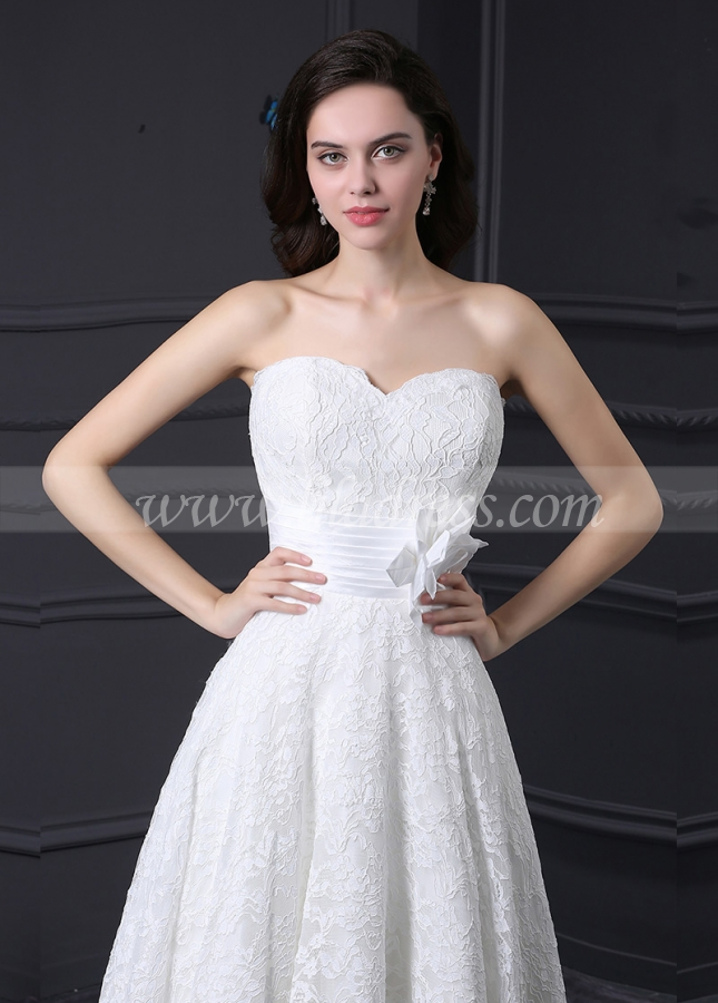 Glamorous Lace Sweetheart Neckline Ankle-length A-line Wedding Dress