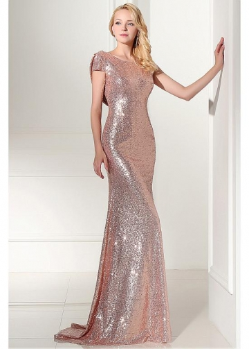 Amazing Sequin Lace Scoop Neckline Sheath Evening Dresses