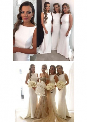 Boat Neck Ivory Bridesmaid Wedding Party Dress Customized