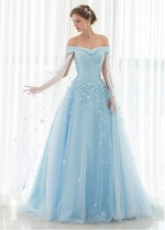 Attractive Tulle Off-the-shoulder Neckline A-line Prom Dress