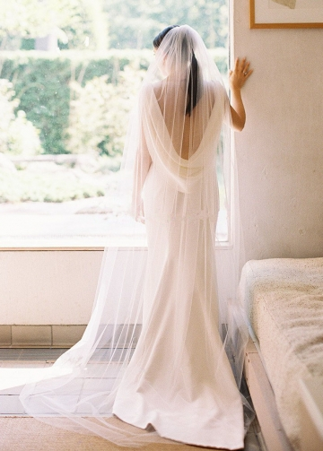 Draped Neckline Slim Simple Outdoor Wedding Dress