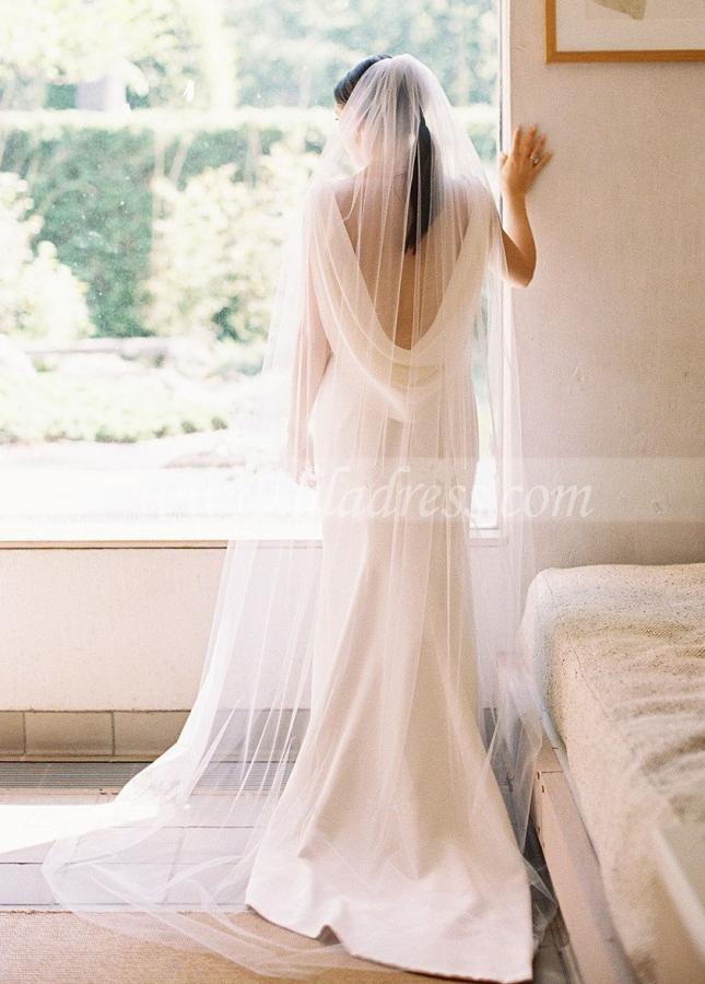 Draped Neckline Slim Simple Outdoor Wedding Dress