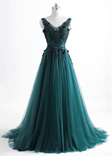 Fantastic Tulle V-neck Neckline Floor-length A-line Evening Dress With Beaded Lace Appiques & Belt