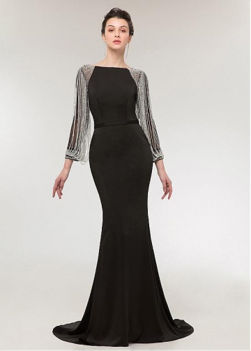 Charming Four Way Spandex Bateau Neckline Long Sleeves Sheath /Column Evening Dress With Beadings