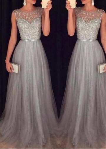 Glamorous Tulle Jewel Neckline A-line Evening Dresses with Beadings